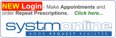 Log in to online services to book appointments or order repeat prescriptions